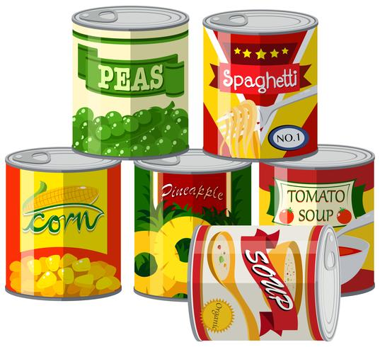 Set of canned foods