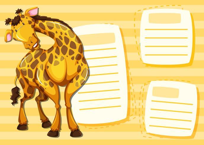 Giraf op notitiesjabloon