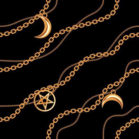 Fundo sem emenda do teste padrão com os pendentes do pentagram e da lua na corrente metálica dourada. No preto. Ilustração vetorial