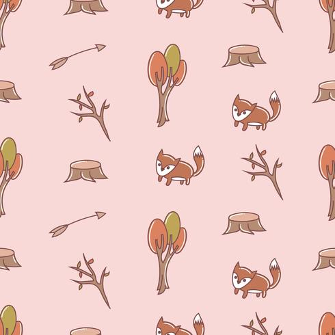 Cute fox seamless pattern drawing