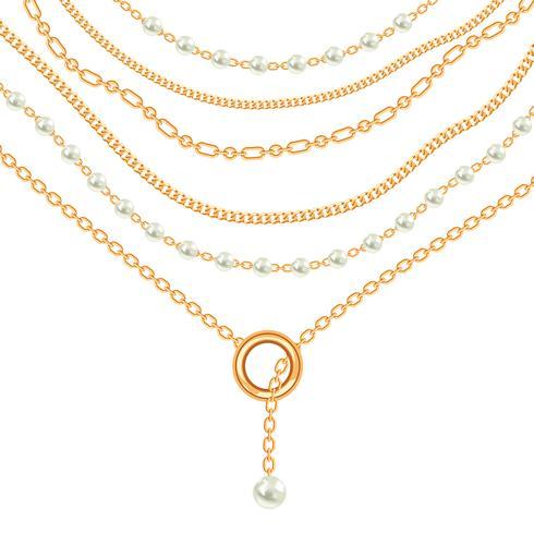 Collier avec pendentifs et chaînes en métal doré. Sur blanc vecteur