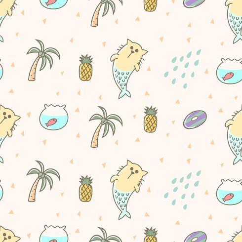 Cute mermaid, cat summer seamless pattern