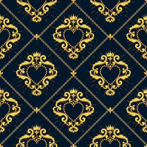 Motif damassé sans couture avec beau coeur rouge ornemental s avec couronne sur fond noir. Illustration vectorielle
