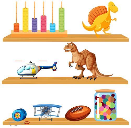 Brinquedos em uma prateleira