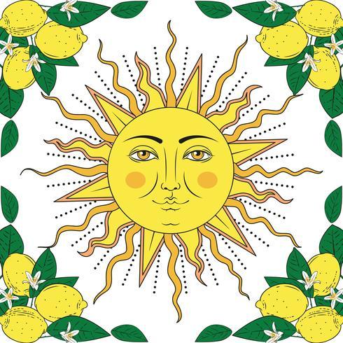 Frutos tropicais do limão do citrino com quadro das flores e sol com rosto humano. Elementos coloridos de verão. Ilustração vetorial