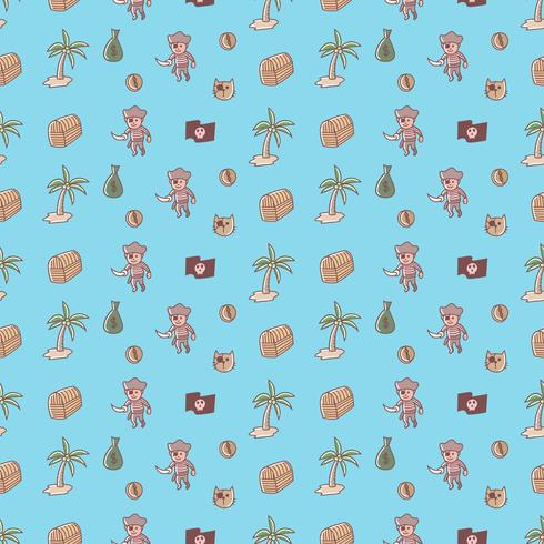 Dibujos animados lindo pirata, verano