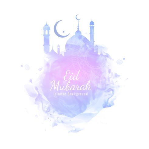 Abstract Eid Mubarak stylish watercolor background