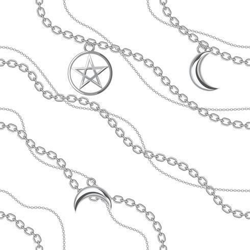 Fondo inconsútil del modelo con los colgantes del pentagram y de la luna en la cadena de plata metálica. En blanco Ilustración vectorial vector