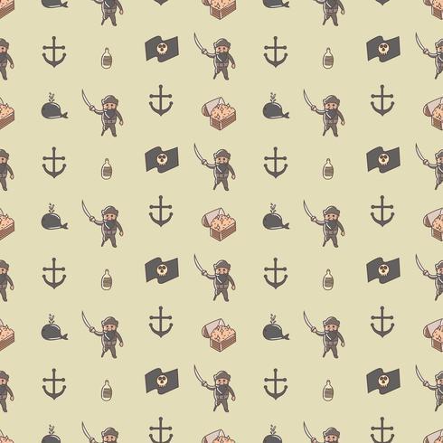 Nahtloses Muster des netten Piratenlords