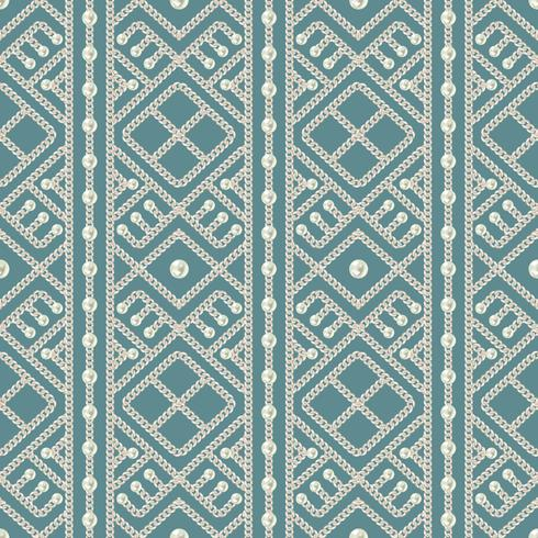 Seamless pattern of silver chain geometrical ornament and pearls on blue background. Vector illustration