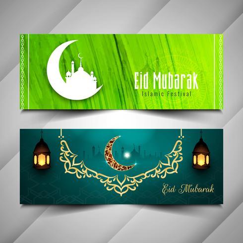 Abstracte Eid Mubarak decoratieve banners instellen