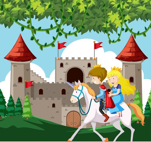 Prince and princess riding a horse vector