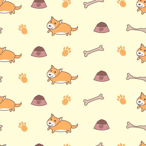 Cute welsh corgi dogs seamless pattern vector