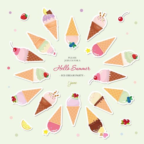 Cornets de crème glacée fond d'été festif avec la place pour le texte. Papier découpé des autocollants.