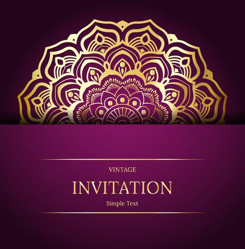 Elegant Save The Date card design. Vintage floral invitation card template. Luxury swirl mandala greeting card, gold, purple vector