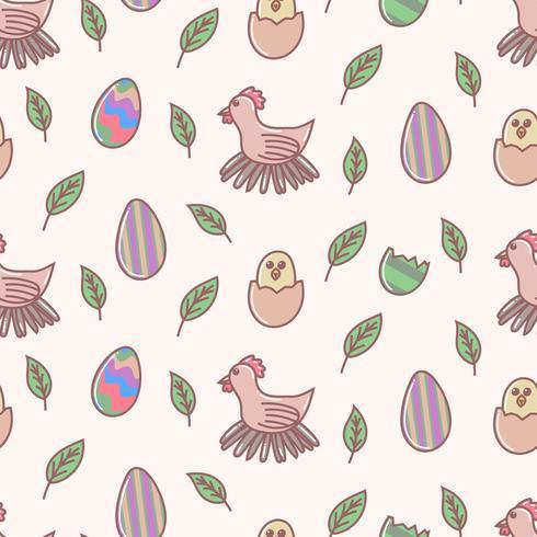Modèle sans couture de dessin animé d'oeuf de Pâques