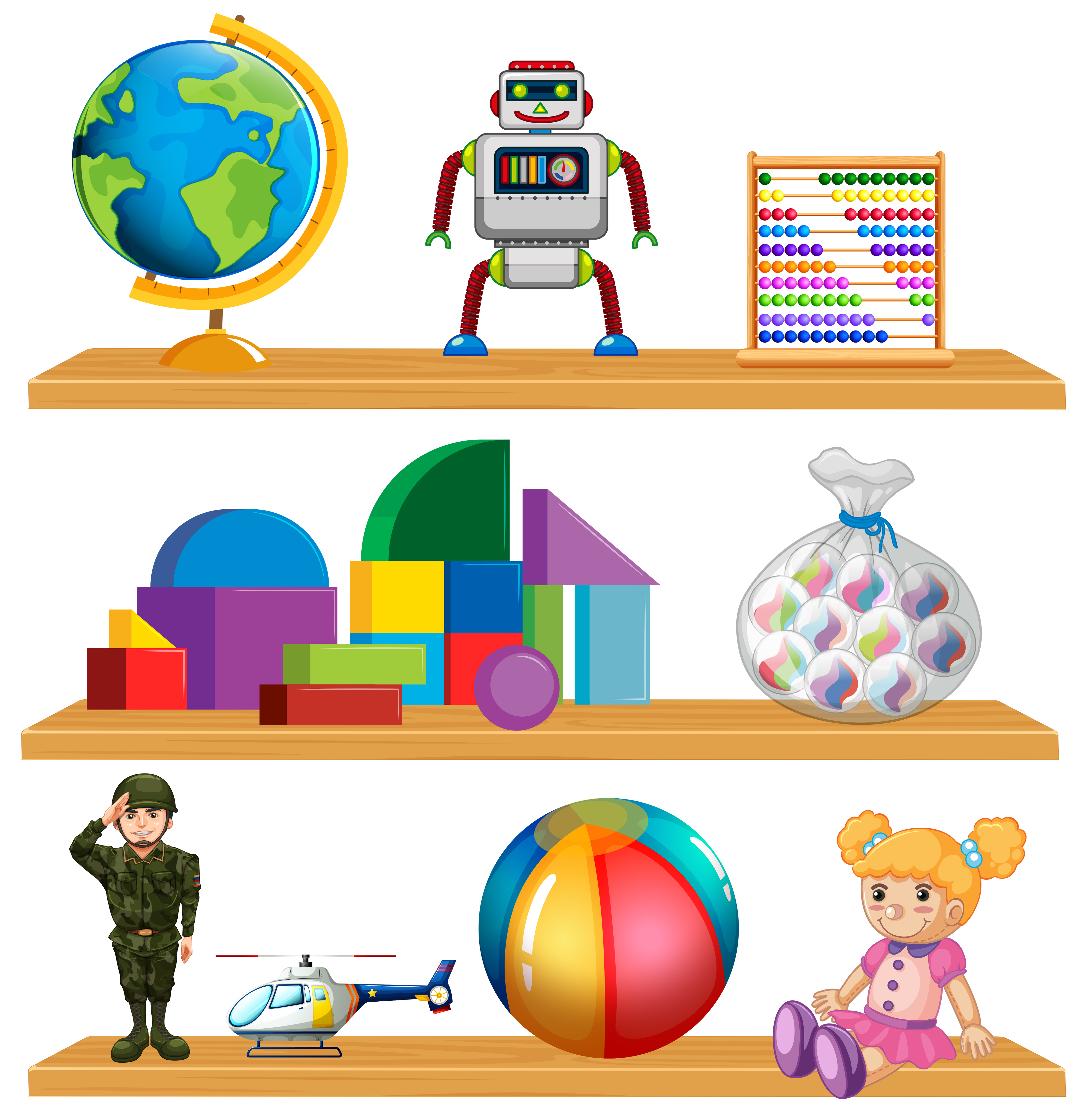 Children toys on shelf - Download Free Vectors, Clipart ...