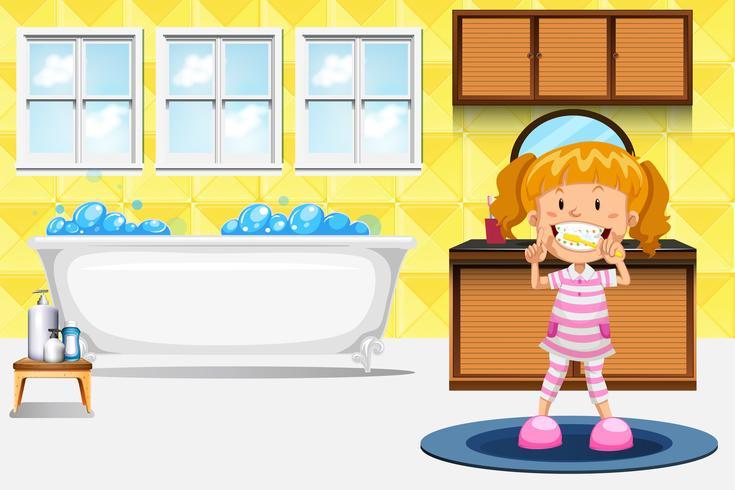 Een meisje dat tanden poetst