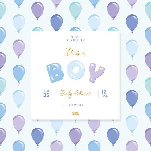 È un ragazzo. Modello di doccia per bambini. Incluso seamless con palloncini blu e viola.