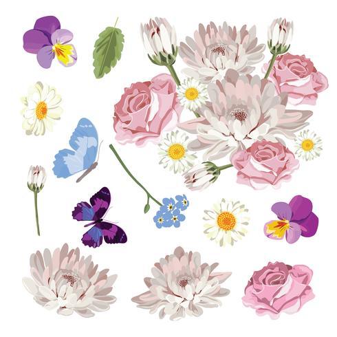 Fije la colección de diversas flores aisladas en el fondo blanco. Ilustración vectorial