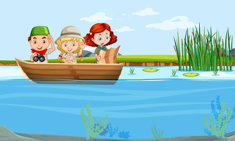 niños en un bote