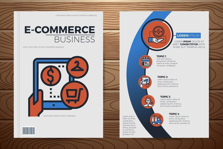 Plantilla de cubierta de libro de negocios de comercio electrónico vector