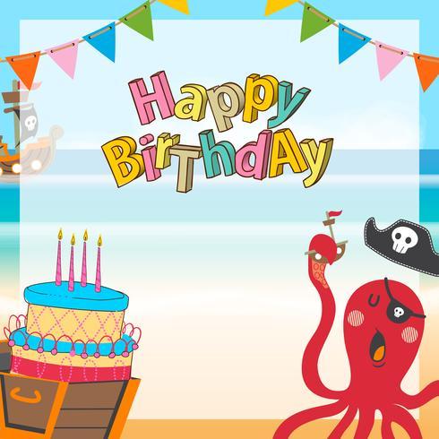 fond d'anniversaire dessin animé mignon pirates