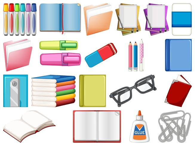 Set of stationery and books
