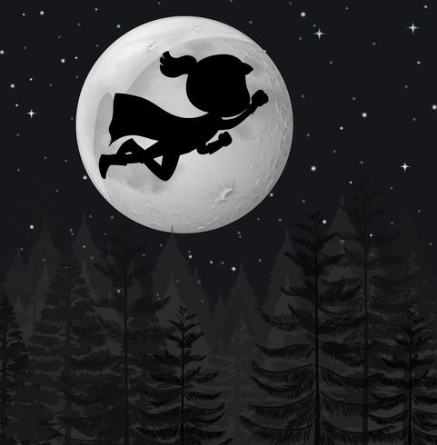 A super hero flying at night