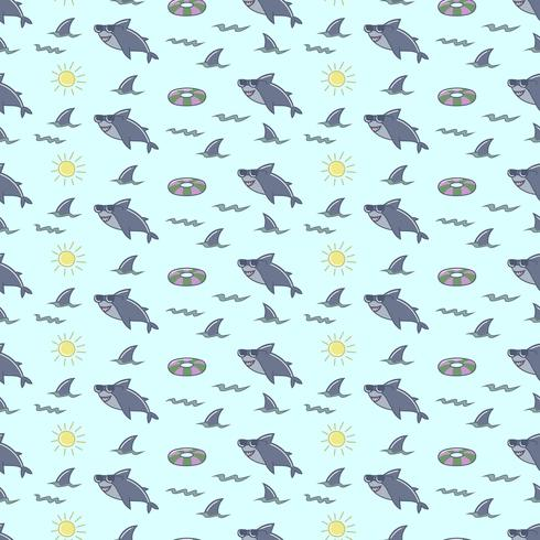 Funny shark seamless pattern