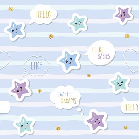 Cute seamless pattern background with cartoon kawaii stars and speech bubbles. For little boys babies clothes, pajamas, baby shower design. Pastel blue and glitter.