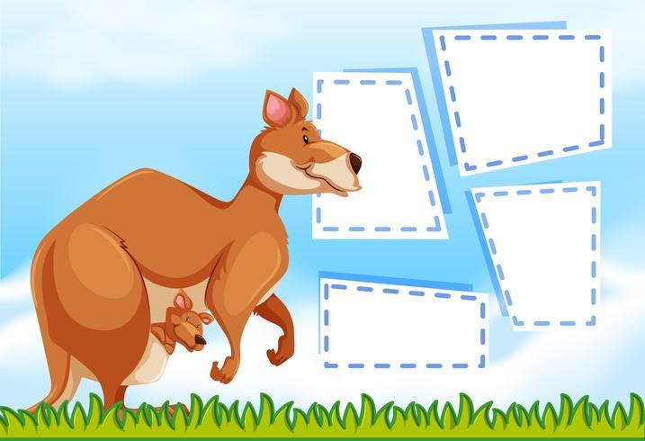 Un canguro en plantilla de nota