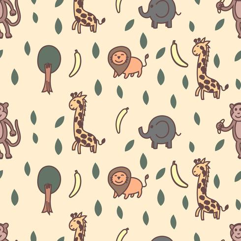 Giraffe, lion, elephant and monkey seamless pattern