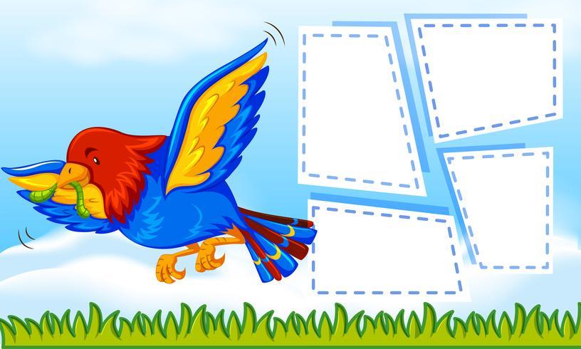 Papagei auf Notizvorlage