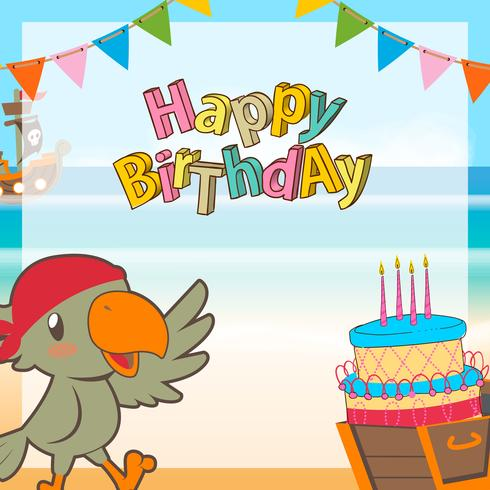 cute pirates cartoon birthday background vector
