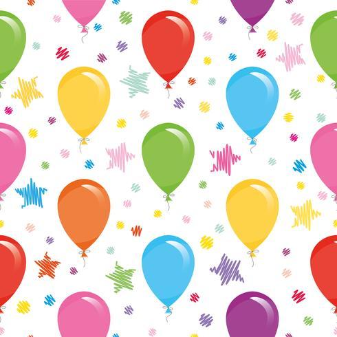 Modèle sans couture festive avec des ballons colorés et des confettis. Pour anniversaire, baby shower, conception de vacances.