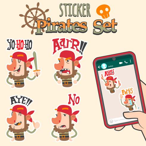 cute pirates cartoon sticker set vector