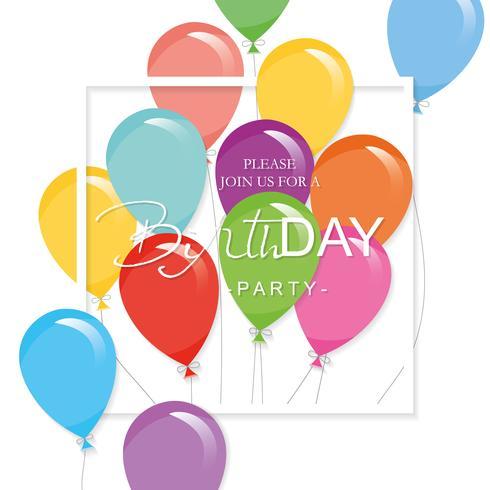 Plantilla de fiesta festiva con globos de colores y marco cuadrado recorte. Invitación de la fiesta de cumpleaños