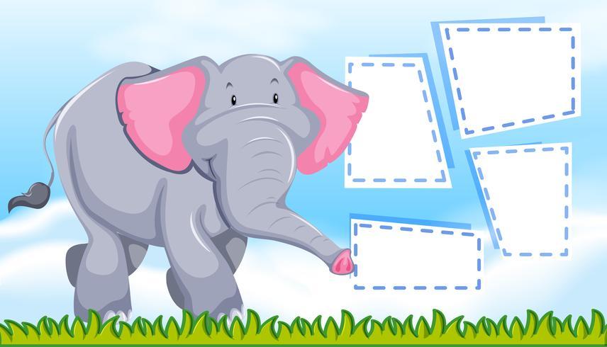 Un elefante en nota en blanco.