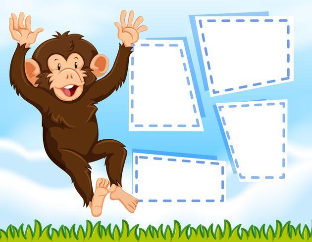 Een aap op lege notitie