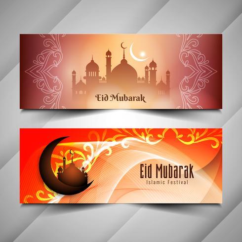 Abstracte religieuze Eid Mubarak rtistic banners instellen