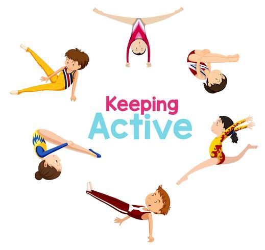 Att hålla aktiv logotyp med gymnastikutövare