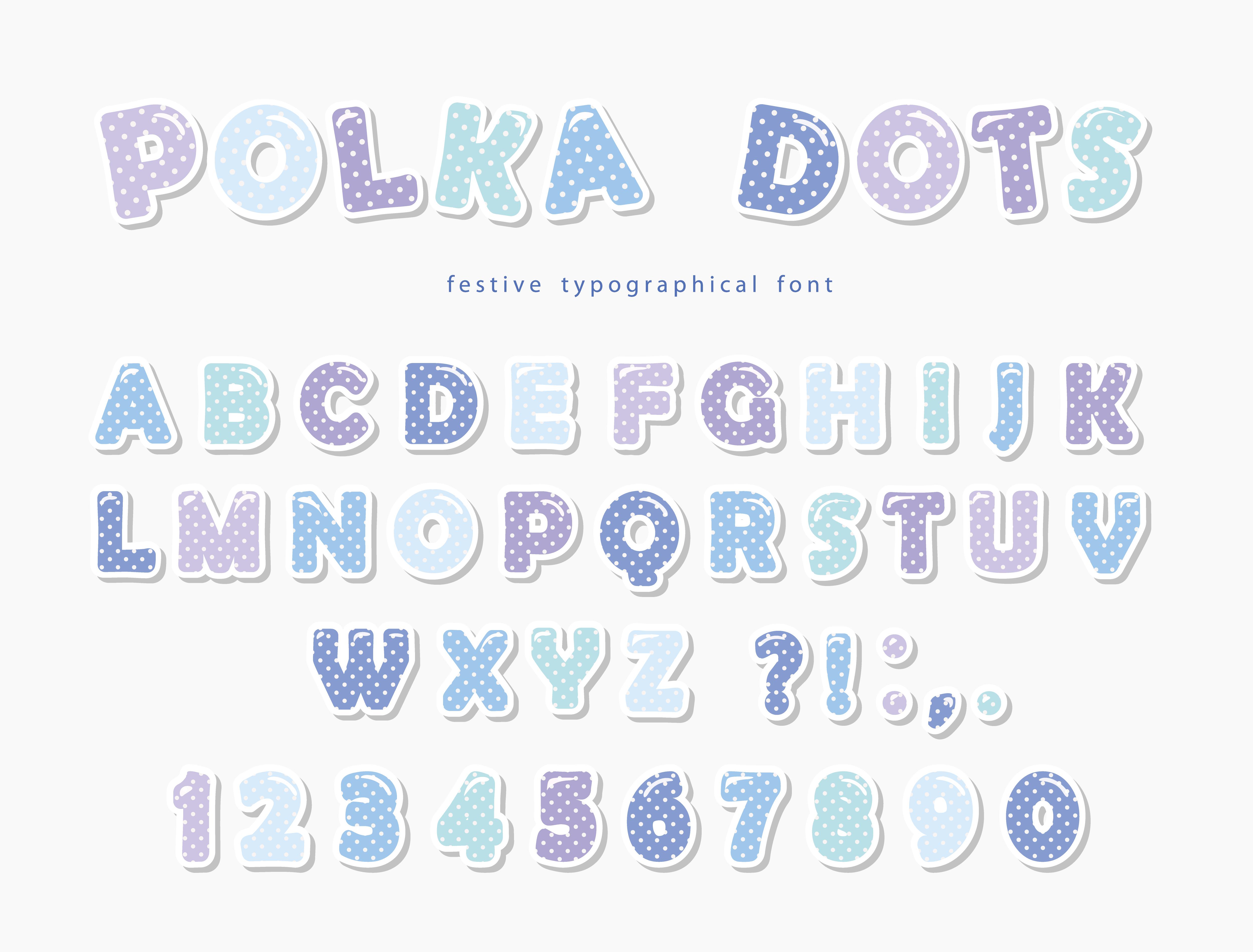 Cute polka dots font in pastel blue. Paper cutout ABC ...