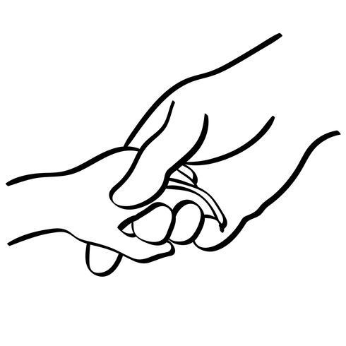 tenant les mains vector