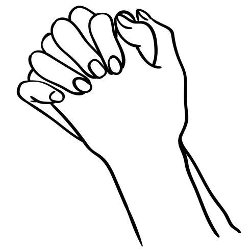 vecteur de mains en prière