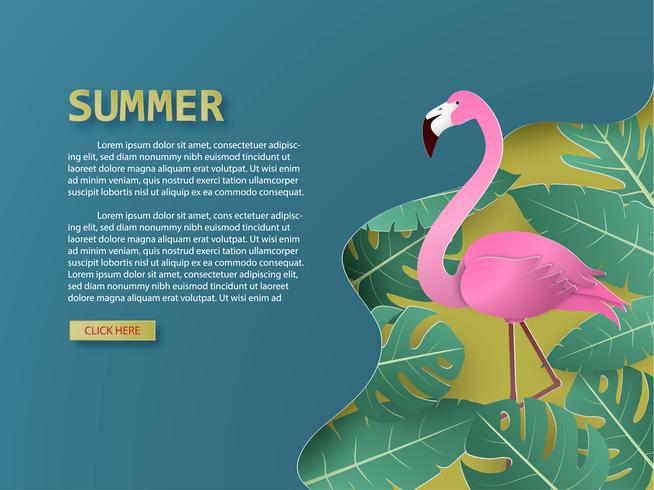 Summer background with flamingo bird and tropical palm and leaves paper cut style.