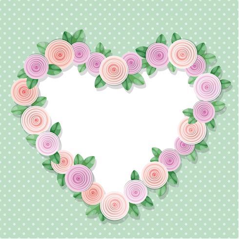 Marco de corazón decorado con rosas en lunares. Con copia espacio para texto o foto. Diseño shabby chic.