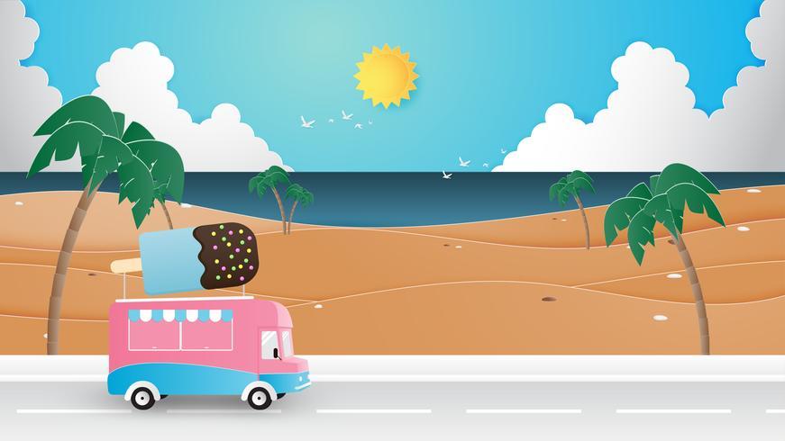 Zomer seizoen, vakantie, reizen achtergrond concept papierstijl knippen.