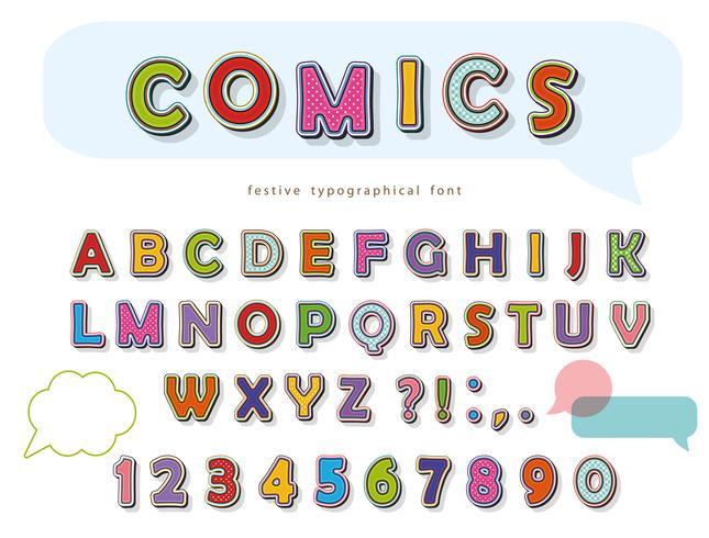 Comic-Schriftdesign. Lustige Pop-Art Buchstaben und Zahlen. Vektor