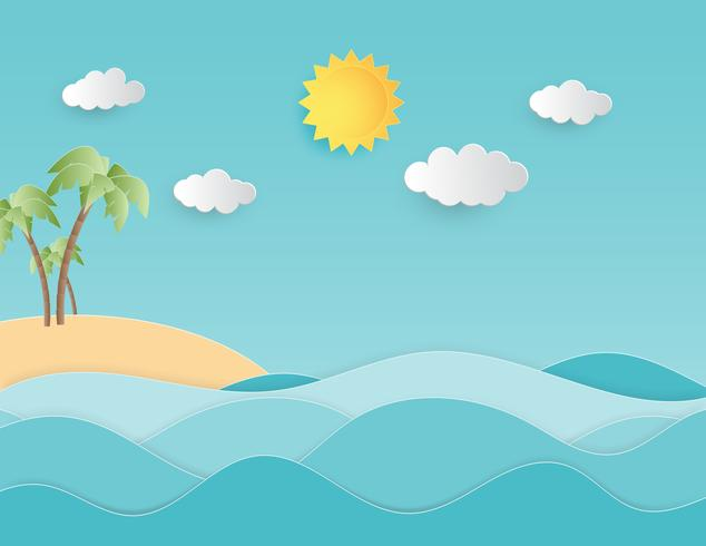 Creative illustration summer background concept paper cut style with landscape of sea wave and beach with palm tree.